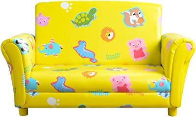 Kid Upholstered Chair ,Kids Sofa couch, with Wooden Frame and PVC Made,for Kid Room(Yellow)