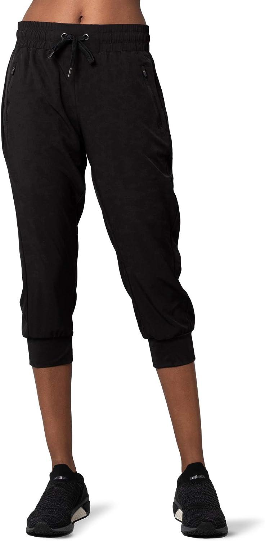 Kyodan Womens Woven Capri with Front Zip Pockets, Elastic Waistband, Folded Bottom Hem 21 Inch Inseam