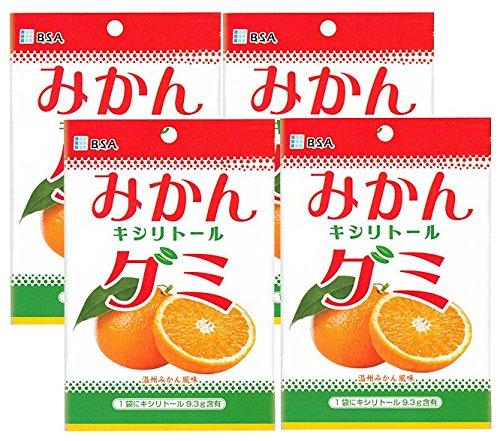 キシリトール100%グミ みかんキシリトールグミ 1袋(12粒) 歯科医院専売品 (4袋)