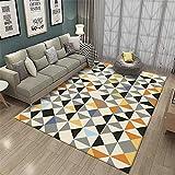 Decoracion Dormitorio Juvenil Alfombra Amarilla Gris triángulo geométrico Estilo contemporáneo para Sala de Estar Sala de Estar alfombras Infantiles Alfombra Grande 140x200cm 4ft 7.1' X6ft 6.7'