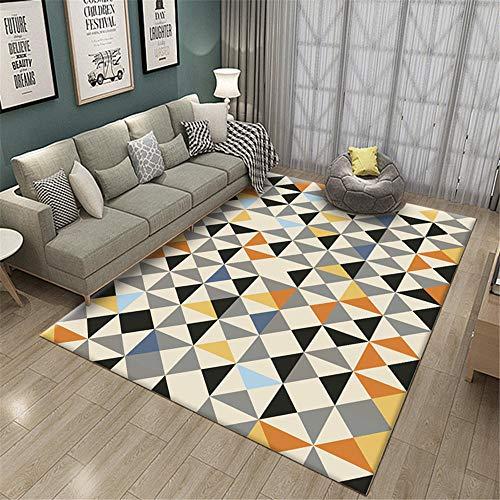 Decoracion Dormitorio Juvenil Alfombra Amarilla Gris triángulo geométrico Estilo contemporáneo para Sala...
