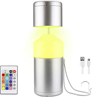 LUXSWAY Battery Operated Table Night Light Adjustable Light Head,Remote Control Dimmable Beside Lamp for Kid Bedroom, RGB ...