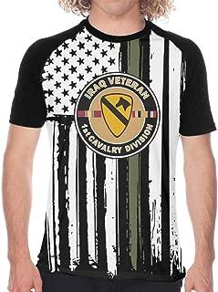 U.S. Army Veteran 1st Cavalry Division Men's Baseball T Shirts Short Sleeve Raglan T Shirts Tee Tops Funny Novelty
