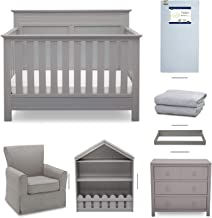 Crib Furniture - 7 Piece Nursery Set with Crib Mattress, Convertible Crib, Dresser, Bookcase, Glider Chair, Changing Top, Crib Sheets, Serta Fall River - Gray/Dove Gray