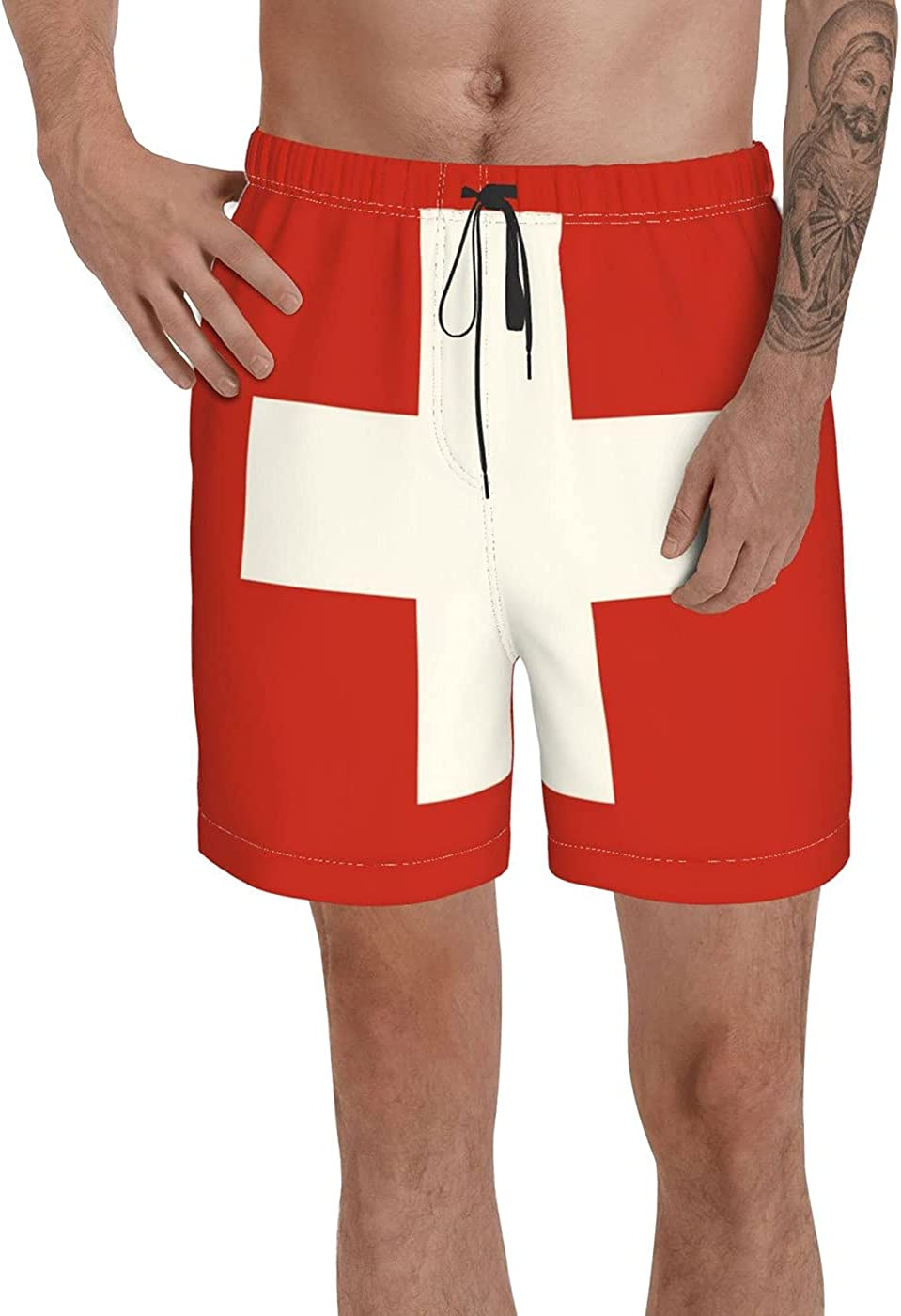 Count Switzerland Flag Men's 3D Printed Funny Summer Quick Dry Swim Short Board Shorts with