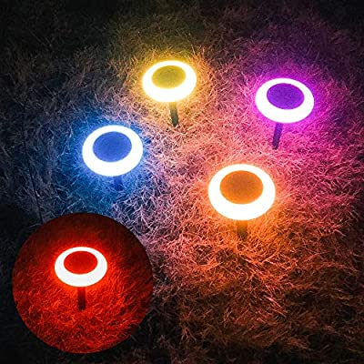 caminos Automatic Solar Powered Lights Outdoor 7 Colors Changing,9.45 Inches Garden Solar Lamp IP65 Waterproof, ABS Landscape Path Lights for Yard,Walkway,Patio Decoration(4 Packs)
