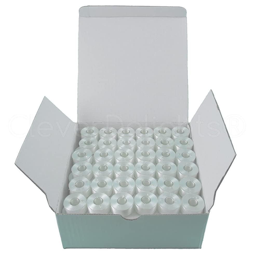 144 Pack - CleverDelights Size A White Prewound Bobbins - 60wt Polyester - Size A (Class 15) Bobbins
