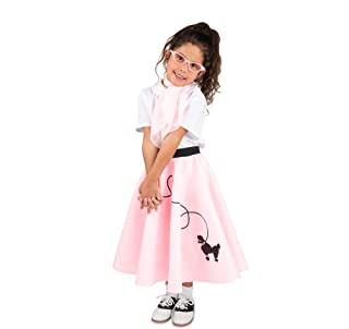 1950s Poodle Skirt with Scarf, Bobby Socks, and Glasses, 4 Piece Children's Costume