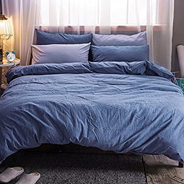 MooMee Duvet Cover Set Solid Blue Washed Cotton Home Collection 3 Pieces Includes 1 Comforter Cover 2 Pillow Shams Soft Queen Size