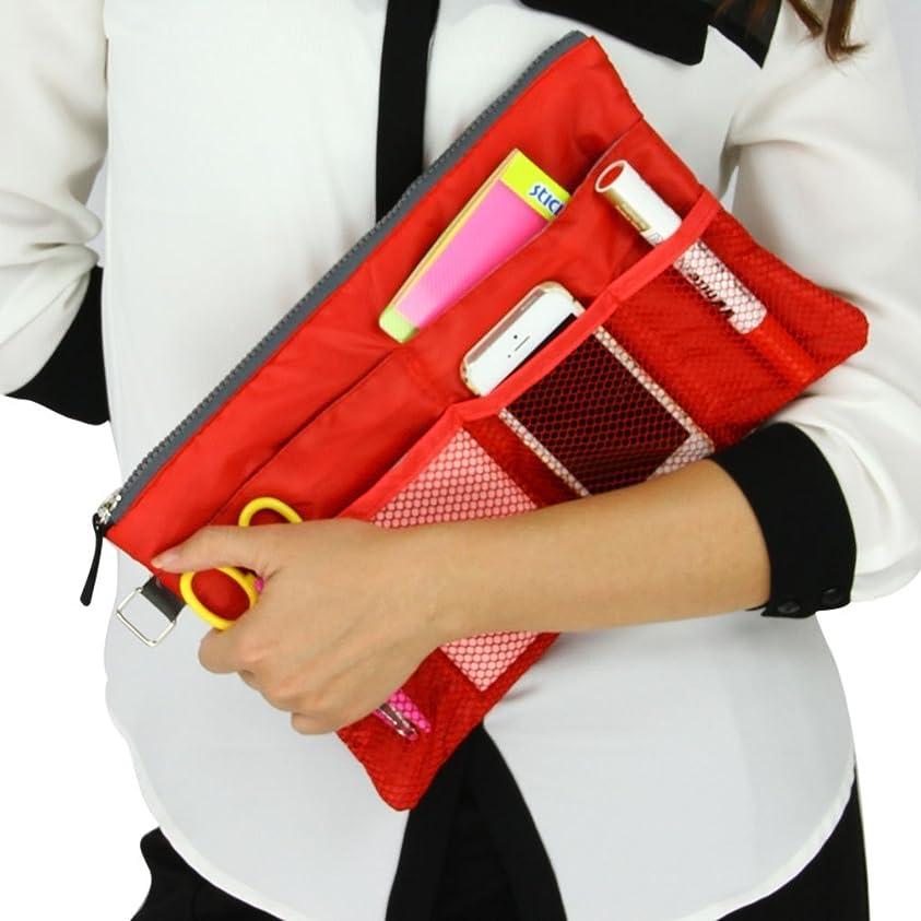 炭素操作広げるバッグインバッグ 可愛い メッシュポケット 多機能 大容量 レディース収納ポーチ 収納バッグ インナーバッグ ipad収納ケース 化粧品収納ポーチ メイクバッグ 贈り物 プレゼント 赤色