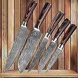 Manija cuchillos de cocina de Damasco venas inoxidable cuchillos de acero de madera del color de pelado de Utilidad Santoku rebanar Chef Cocinar cuchillo (Color : 5PCS)