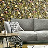 RoomMates RMK11450WP Black and Green Tropical Flowers Peel and Stick Wallpaper
