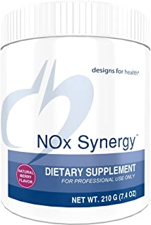 Designs for Health NOx Synergy - Nitric Oxide Support Powder for Heart Health with Creatine + Taurine, Natural Berry Flavor (30 Servings / 210g)
