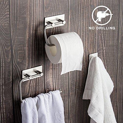 Set de accesorios de baño de 3 piezas: Toallero, Portarrollo de papel higiénico, Gancho Acero inoxidable