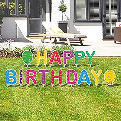 GOKKCL 15 Packs Happy Birthday Yard Sign with Stakes, Perfect Outdoor Lawn Decorations with Bright & Colorful Letters Made of Thick Weatherproof Corrugated Board and 30 Stakes