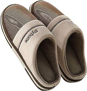 shoes Pantoufles d'hiver en Coton pour Hommes, Plus la Taille, Chaussons de Maison antidérapants TPR Chauds en Mousse à mé...