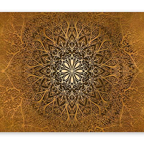 murando - Fototapete Mandala 300x210 cm Vlies Tapeten Wandtapete XXL Moderne Wanddeko Design Wand Dekoration Wohnzimmer Schlafzimmer Büro Flur Ornament Abstrakt gold f-A-0491-a-c