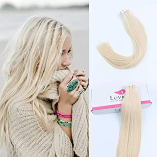 "Lovrio 22"" 20pcs 50g Tape in Hair Extensions Color #60 Platinum Blonde Prime Silky Straight Skin Weft"