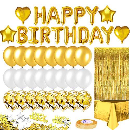 iZoeL Geburtstagsdeko Gold Happy Birthday Girlande 24 Konfetti Ballons Tischdecke Glitzer Vorhang Konfetti Herz Stern Folienballon