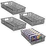 mDesign Set da 4 Portautensili cucina in metallo – Cestini portaoggetti multiuso ideali per la dispensa o come portaoggetti cucina – Utilizzabili come scatole per l'armadio – nero opaco