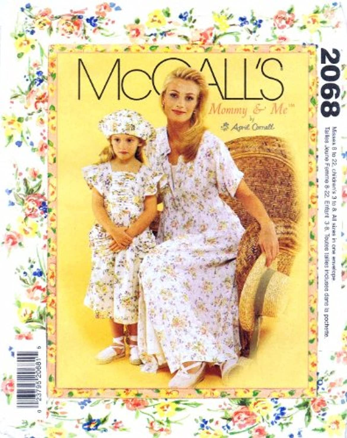 McCall's Mommy & Me Pattern 2068 Misses' Dress and Slip and Girls' Dress, Hat and Ba
