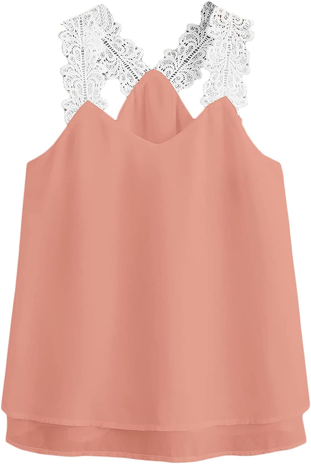 Floerns Women's Plus Size Floral Lace Straps Sleeveless Cami Tank Top