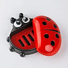 mk. park - Home Ladybug Bathroom Shower Travel Soap Box Dish Plate Holder Case Container (Red)