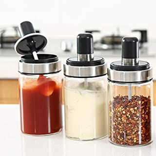 TENTA Kitchen 3 High Borosilicate Glass Spice Jars Seasonning Box Jar Condiment Jar, Combination Spoon and Lid Design, Premium Commercial Grade, Empty Jars 8.45 oz, Airtight Cap.
