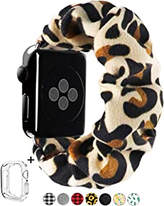 Scrunchie Elastic Watch Band for Apple Watch 38mm/40mm 42mm/44mm,Innovative Elastic Faux Suede Replacement Wristband for iWatch Series 4 3 2 1 MONOBLANKS (Leopard, 38MM/40MM)
