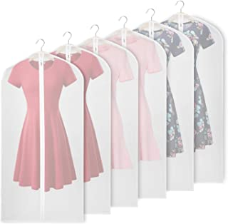 Univivi Hanging Garment Bag 48 inch Suit Bag for Storage(Set of 6) Washable Clear Lightweight Garment Bags for Long Dress Dance Costumes Suits Gowns Coats