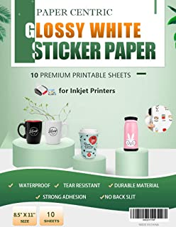 Paper Centric, Glossy White Sticker Paper - Waterproof - 10 Sheets Printable Vinyl - for Inkjet Printers