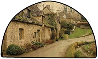 Front Mat Home Decorative Carpet Colorful Farm House Decor,British Town with Stone Houses Retro England Countryside Buildings Image,Grey Green,W35