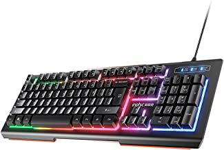 INPHIC Wired Keyboard, 104 Full-Size Keyboard with Rainbow L