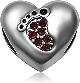 JMQJewelry Mom Heart Love Baby Footprints Birthday Birthstone Jan-Dec Charms for Bracelets Mother Wife Sister Gifts