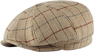 BESBOMIG Mens Newsboy Cap Herringbone Flat Cap Beretta Cap Ivy Dad Irish Caps Traditional Solid Hats 56-59cm