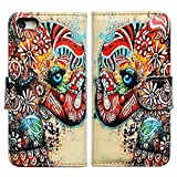 Bfun Packing Tribal Floral Elephant Flower Card Slot Wallet Leather Cover Case for Apple iPhone 5C AT&T Verizon Sprint