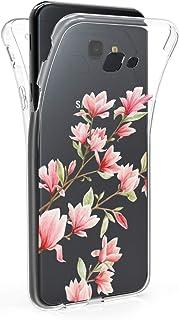 kwmobile Funda Compatible con Samsung Galaxy J4+ / J4 Plus DUOS - Case 360 de TPU Magnolias Rosa Claro/Blanco/Transparente