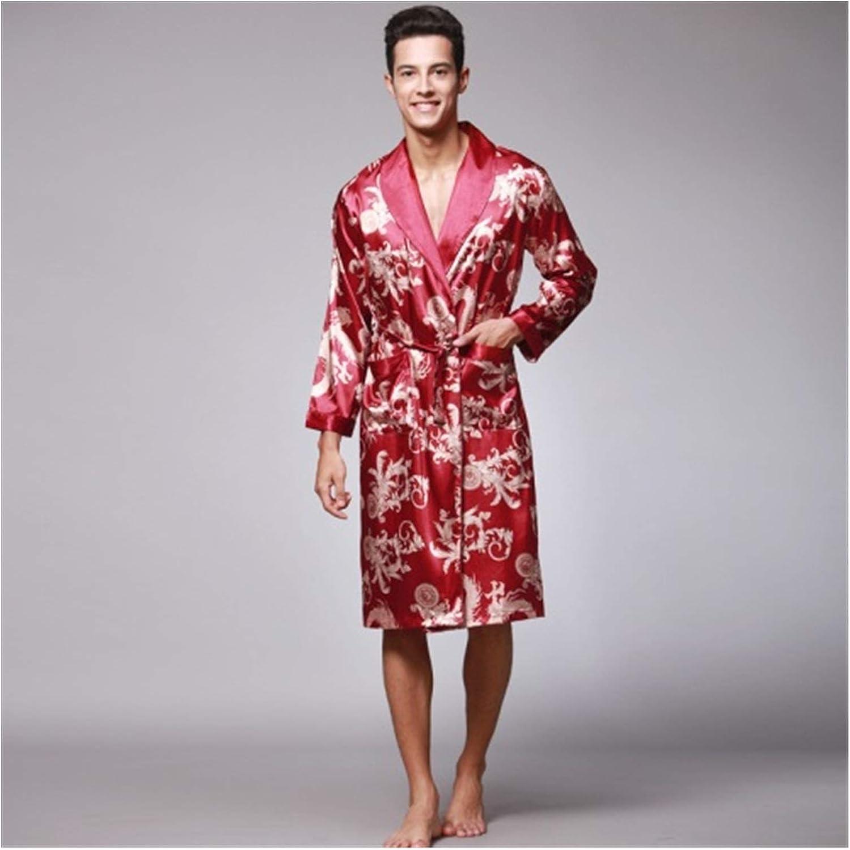 Spring Autumn Men's Bathrobes Printed Male Pajamas Full Sleeves Nightwear Sleepwear Satin Silk Robe Pyjama Belt Men Robe (Color : Burgundy, Size : XXXL)