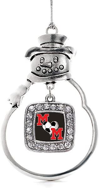 灵感银足球妈妈魅力饰品银方形魅力雪人装饰品与立方氧化锆珠宝