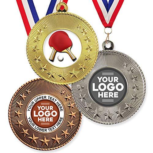 Trophy Monster Paquete de 10 medallas y cintas de metal de 50 mm para tenis de mesa y ping-pong, emblema estándar o su logotipo, personalizable, paquete a granel, cantidad de 50,100,250 o 500