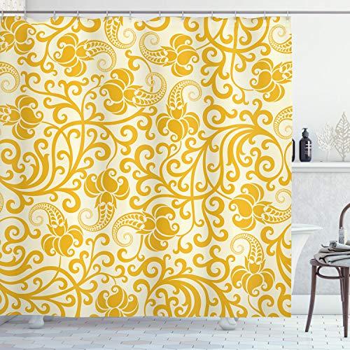 ABAKUHAUS Jugendstil Duschvorhang, Arabesque Blüten, mit 12 Ringe Set Wasserdicht Stielvoll Modern Farbfest & Schimmel Resistent, 175x200 cm, Braun Gelb Hellgelb