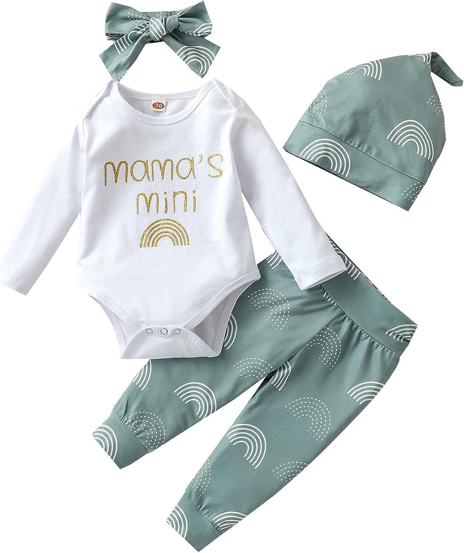 Verve Jelly Newborn Infant Baby Girls Clothes Mama's Mini Romper Bodysuit Rainbow Pants with Hat Headband 4 PCS Outfits Set