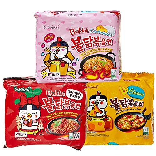 Samyang BULDAK Ramen Combo | Kennenlernbox | 5er Pack Hot Chicken Carbonara & 5er Pack Cheese & 5er Pack Tomato