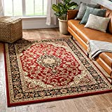 Noble Medallion Red Persian Floral Oriental Formal Traditional Area Rug 5x7 (5'3' x 7'3') Easy to Clean Stain Fade Resistant Shed Free Modern Contemporary Transitional Soft Living Dining Room Rug