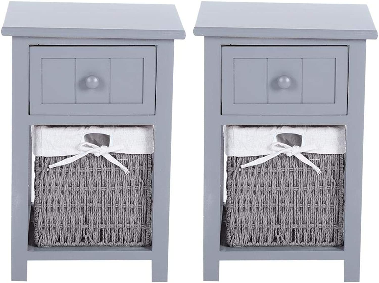 Zerone Set of Two Bedside Table Storage Unit Traditional Style Bedside Table Unit Drawers Bedside Cabinet With Wicker Storage Basket 30  28  45cm(Grey)