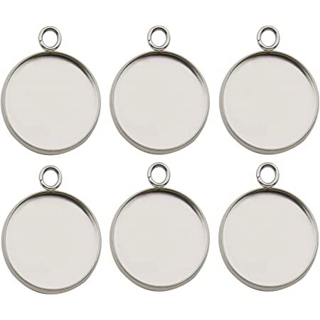 ULTNICE Round Bezel Pendant Blanks Trays with Glass Dome Tiles Cabochon Settings 20 Set