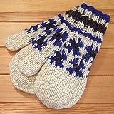 DOUBLE NAME ダブルネーム Ray Cassin ノルディック柄ミトン 手袋 グローブ Hand Knit wool (アイボリー)