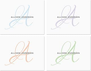 Initial Personalized Note Card Set (4 Color Choices) - 24 cards with white envelopes, 4-1/4