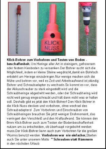 SCHRAUBANKER - STARTERSET MIT KLICK - NUSS + KLICK - BOHRER 8mm - Camping-Wurmi-STABIELO-Zeltheringe-Schraubheringe-STARTERSET inkl TASCHE ZELTHERINGE/SCHRAUBHERINGE/BODENANKER - STARTERSET 2014 - Wurmi-produkte ® - SCHRAUBHERINGE mit HAKENCLIPS - MADE in GERMANY - LANGZEIT-TEST- INNOVATIONEN MADE in GERMANY - HOLLY PRODUKTE STABIELO -