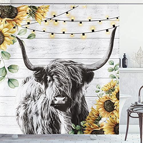 AMBZEK Highland Kuh Duschvorhang 152 x 182 cm Farmhouse Holz Funny Tier Western Wildlife Sonnenblumen Blumen Kunst Mode Artwork Stoff Badezimmer Dekor Set mit 12 Pack Haken, Schwarz Weiß